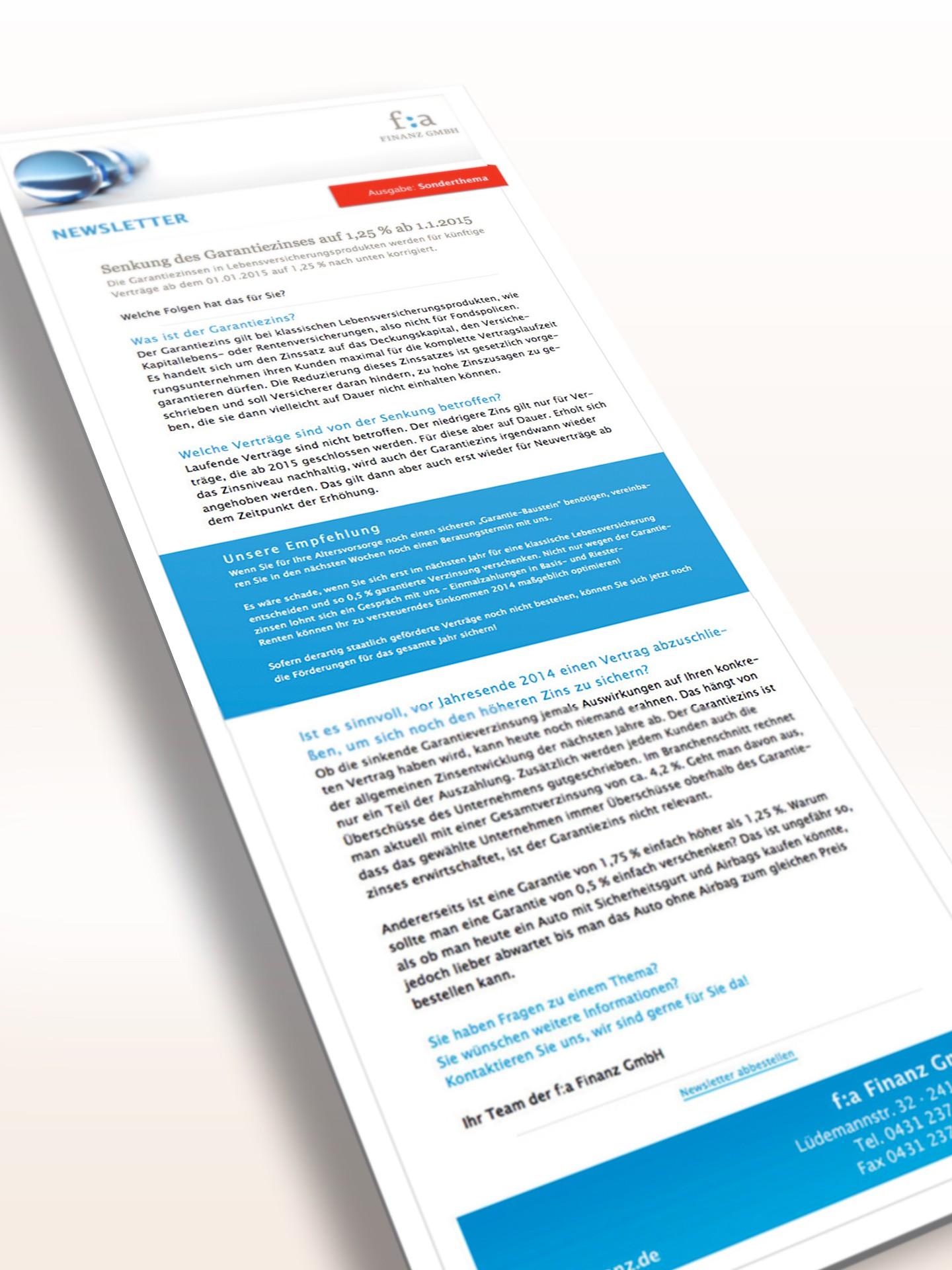 f:a Finanz GmbH - Newsletter