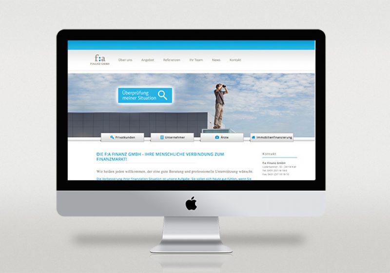 Webseite der f:a Finanz GmbH