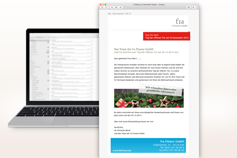 Referenz f:a Finanz E-Mailing Weihnachten 2013