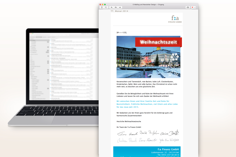 Referenz f:a Finanz E-Mailing Weihnachten 2014