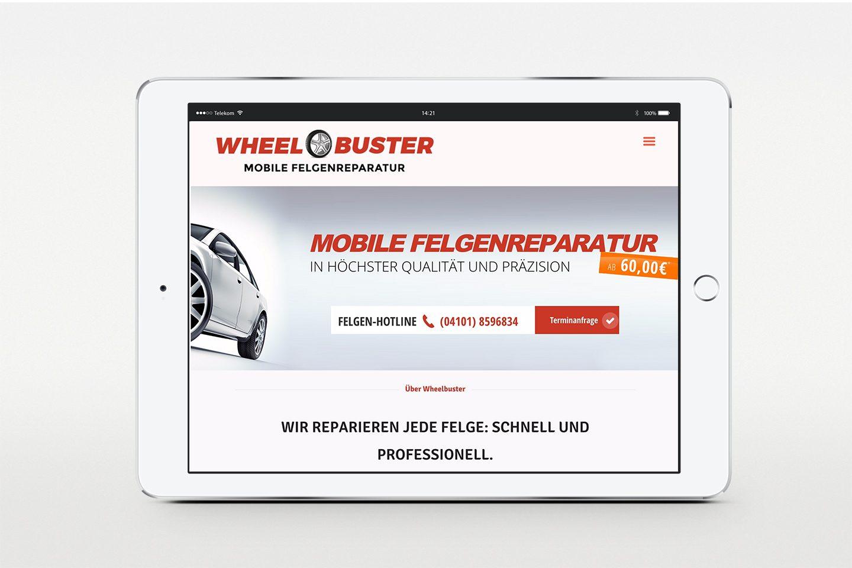 Wheelbuster Responsive Webseite - Homepage auf iPad