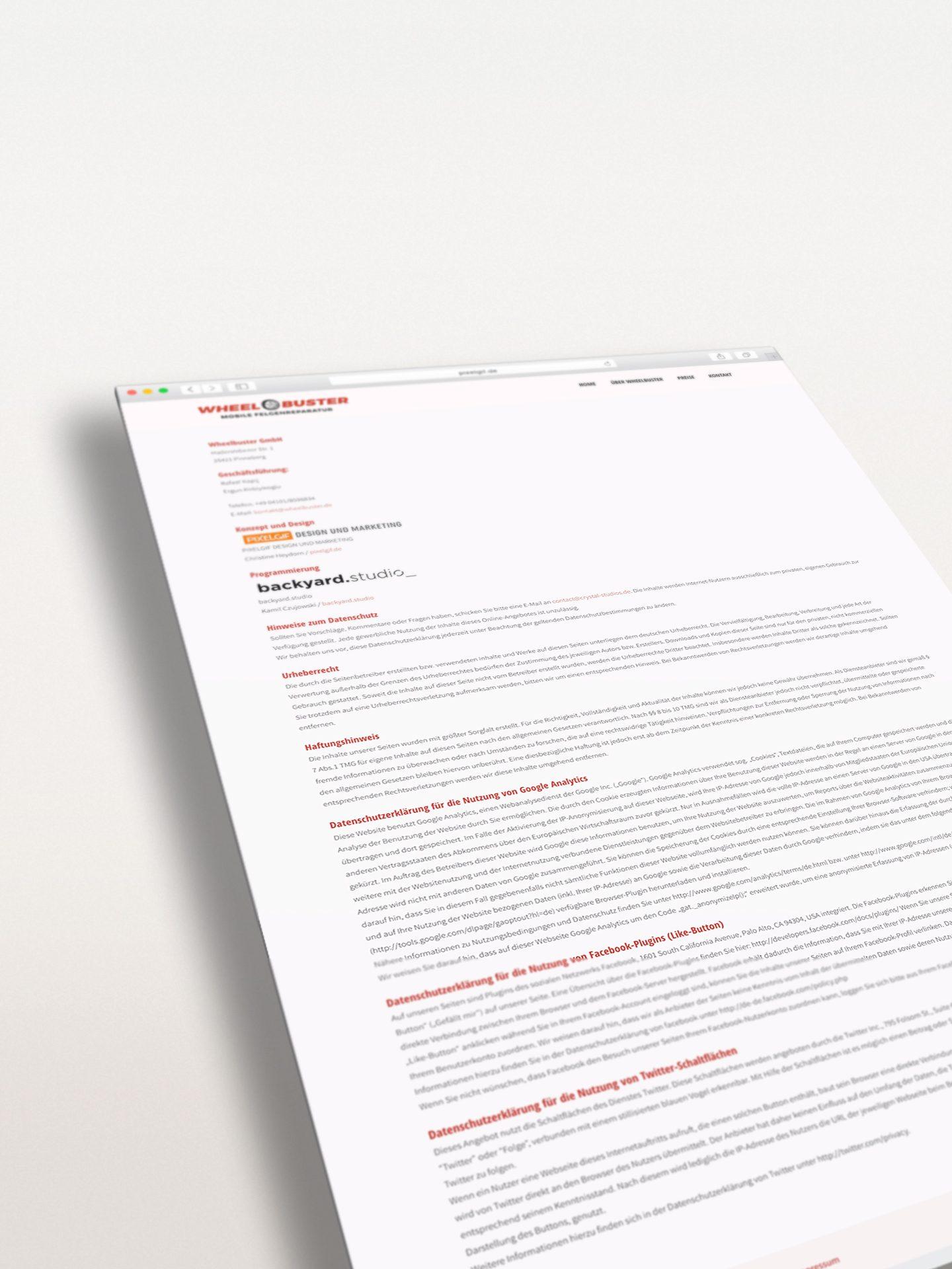 Wheelbuster Responsive Webseite - Impressum